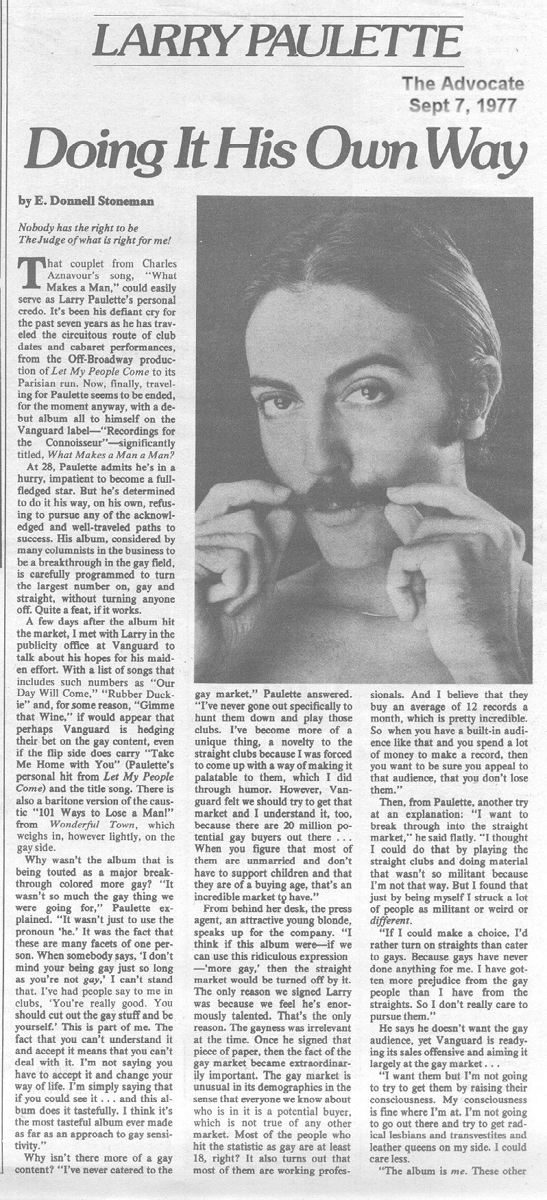 Advocate article, 9/7/77