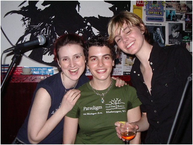 Julie Loyd, Melanie Kurdian, Liz Clark in Houston,  March 2007, complete with redeye