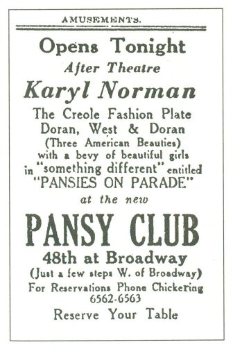 "Pansy Club, 12/19/30, ad from ""Gay New York"""