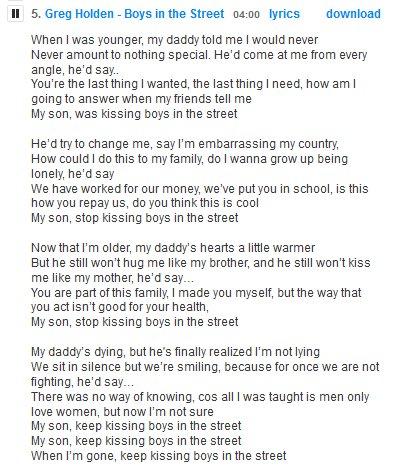 my son stop kissing boy in the street lyrics